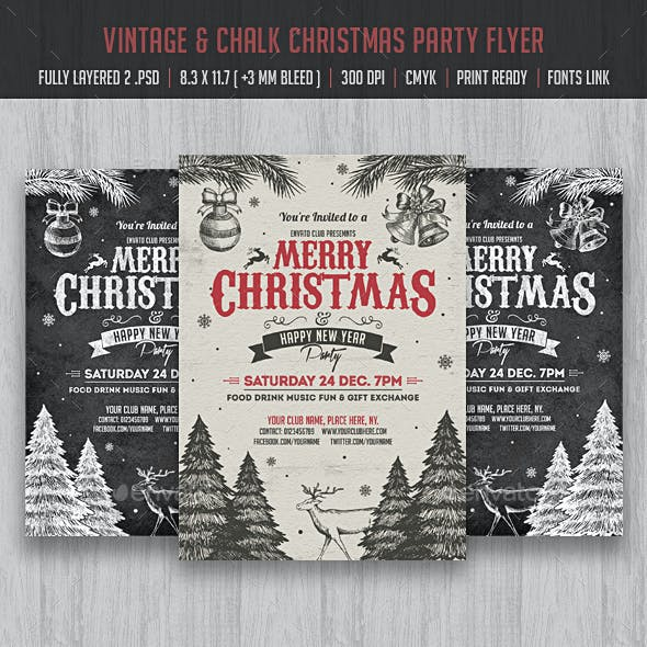 Vintage & Chlak Christmas Party Flyer