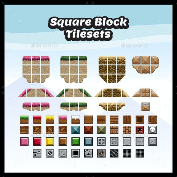 100 Square Block Tilesets for Platformer Games