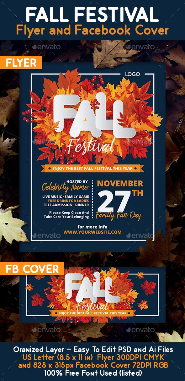 Fall Festival Flyer and Facebook Cover - Holidays Events