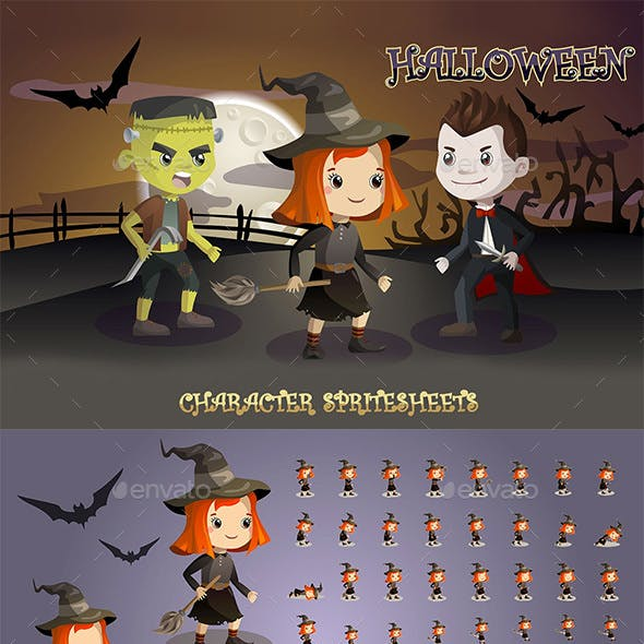 2D Game Character Sprite Sheets (Frankenstein, Vampire, Witch)