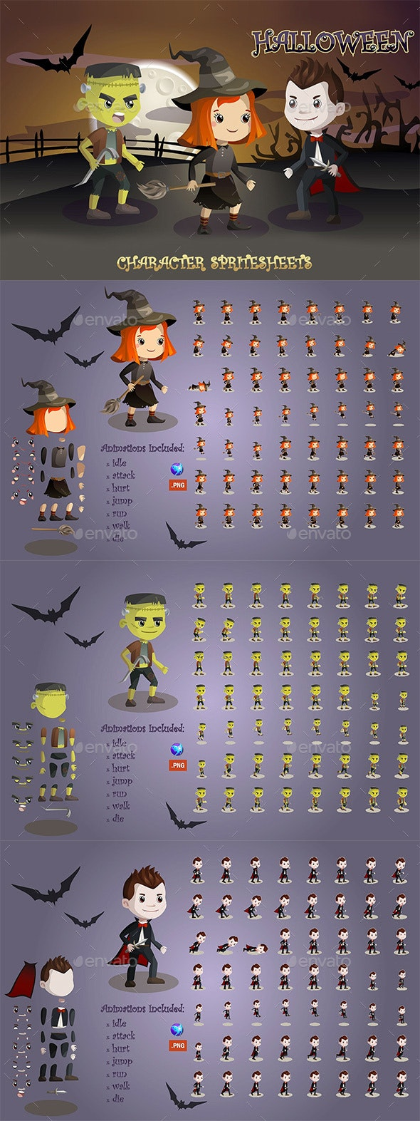 2D Game Character Sprite Sheets (Frankenstein, Vampire, Witch) - Sprites Game Assets