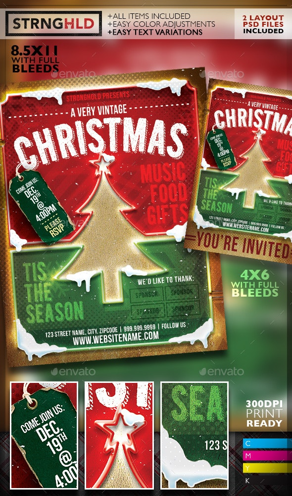 Vintage Christmas Neon Event Flyer - Holidays Events
