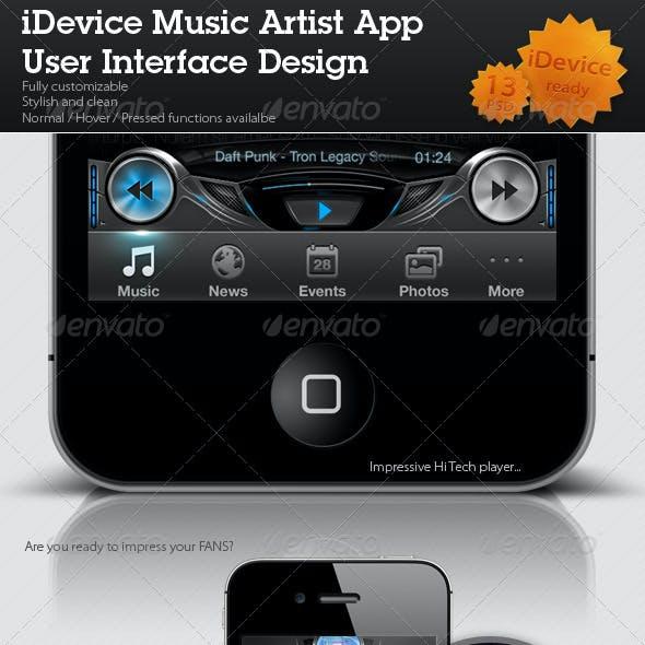 iDevice Music Artist App User Interface