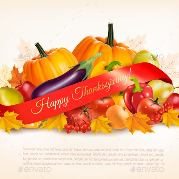 Happy Thanksgiving Banner With Autumn Vegetables Vector