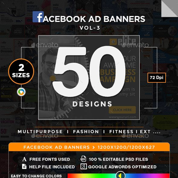 Multipurpose Facebook Newsfeed Ads - 50 Designs - 2 Sizes Each