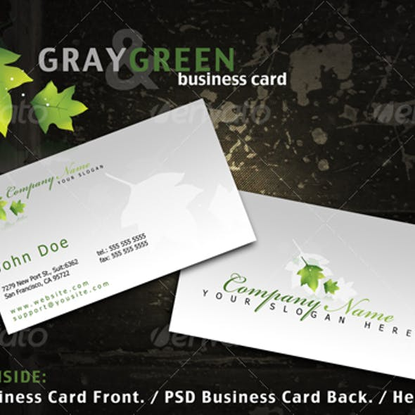 Gray and Green business card