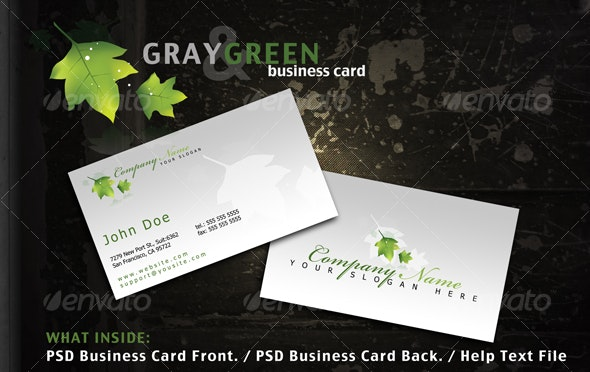 Gray and Green business card - Retro/Vintage Business Cards