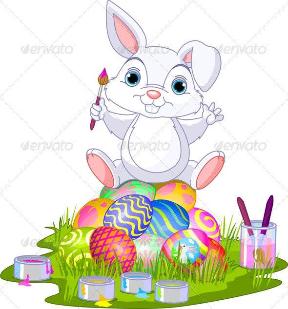Easter. Bunny sitting on eggs  - Seasons/Holidays Conceptual