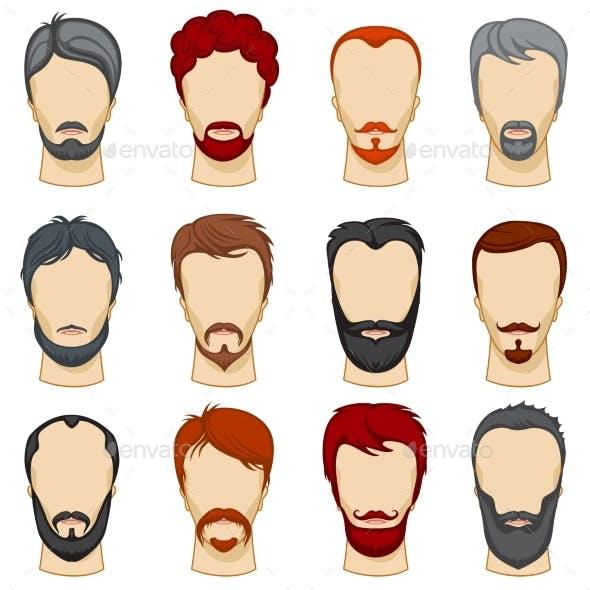 Man Cartoon Hairstyles Vector Collection