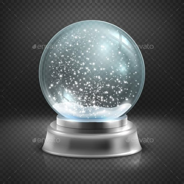 Christmas Snow Globe Isolated On Transparent
