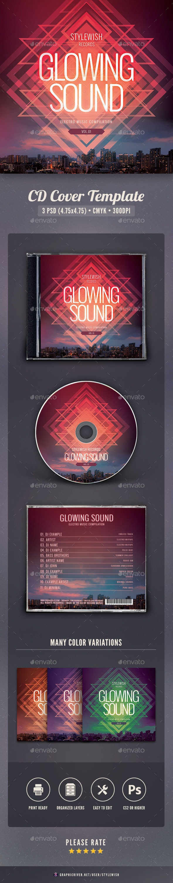 Glowing Sound CD Cover Artwork - CD & DVD Artwork Print Templates