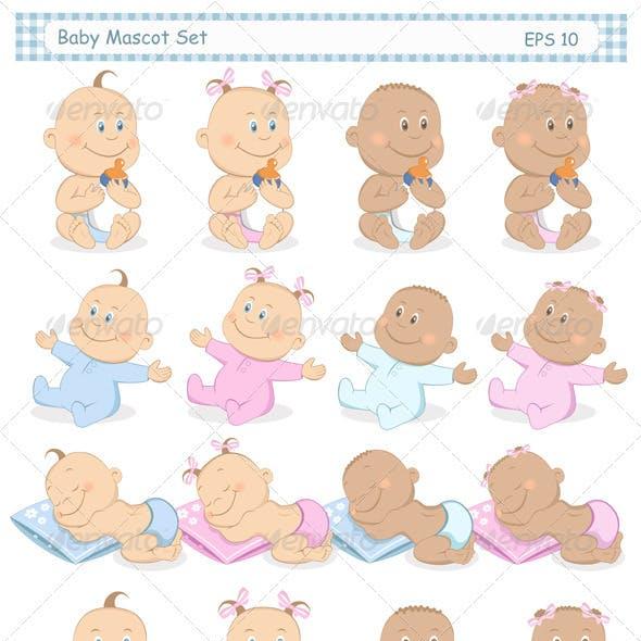 Baby Boy and Girl Mascot Set