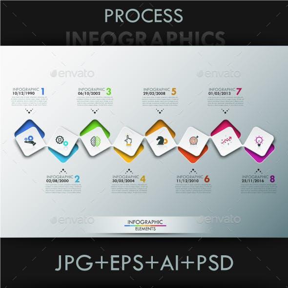 Modern Infographic 8 Steps Timeline Template
