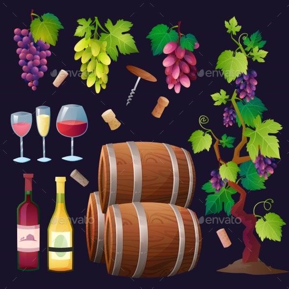 Wine Set Vector. - Backgrounds Decorative