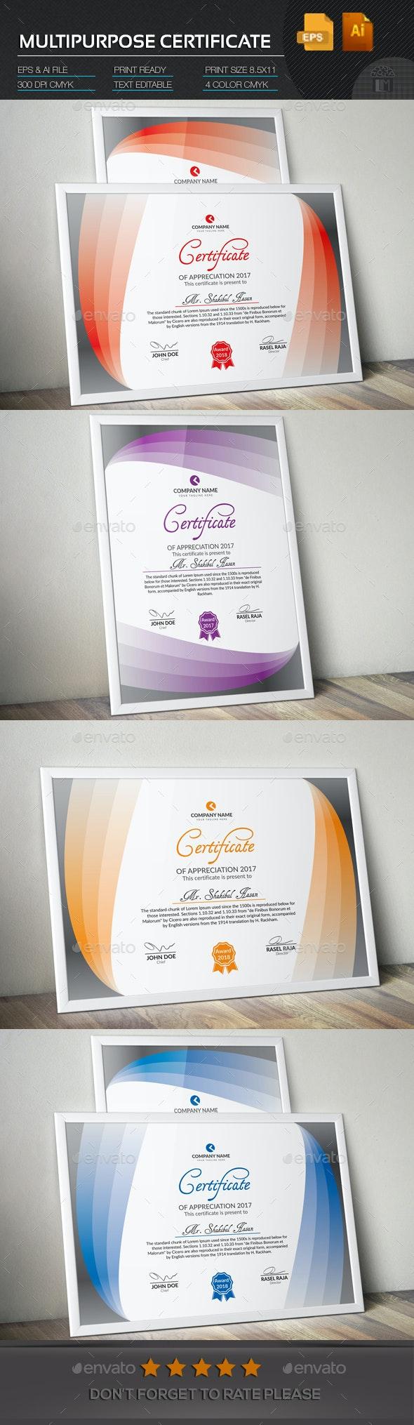 Multipurpose Certificate - Certificates Stationery