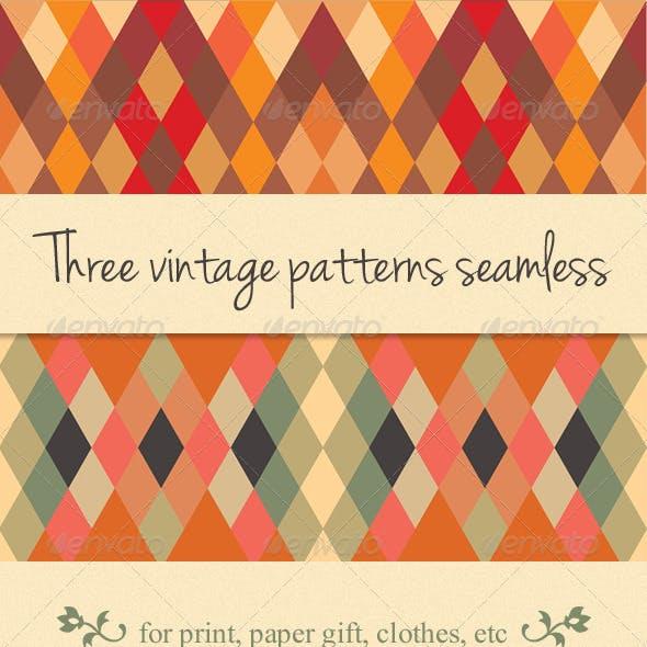 3 Pattern Seamless Vintage Style Set