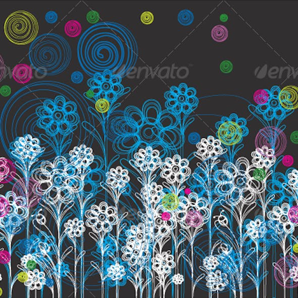floral background design in white and blue