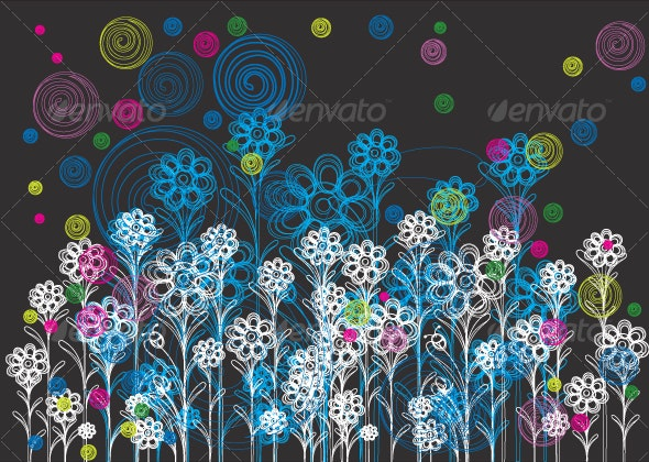 floral background design in white and blue - Backgrounds Decorative