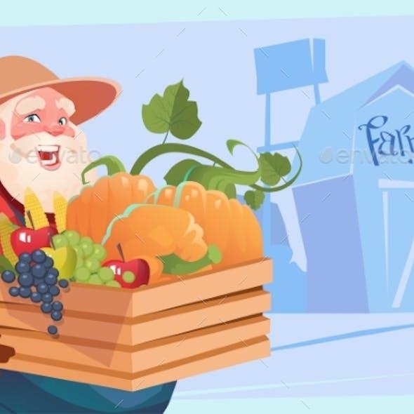 Farmer Holding Box with Vegetables Farmland