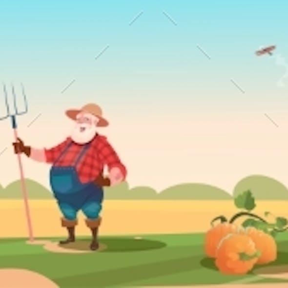 Farmer Breeding Animals Farmland Background