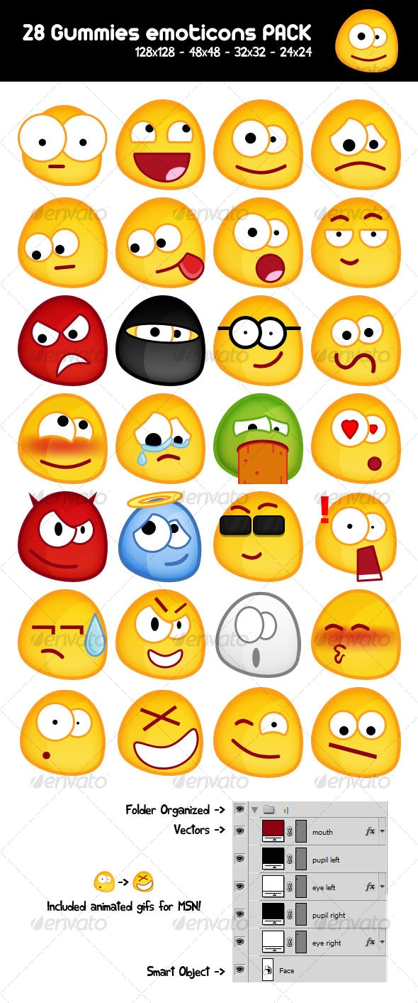 28 Gummy emoticons PACK - Miscellaneous Characters
