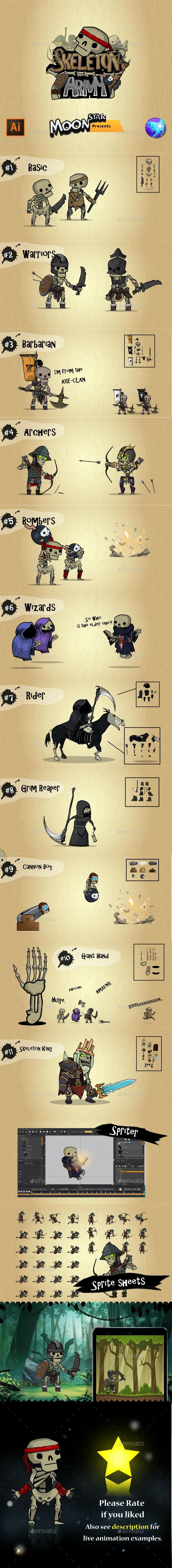 Skeleton Army - Sprites Game Assets