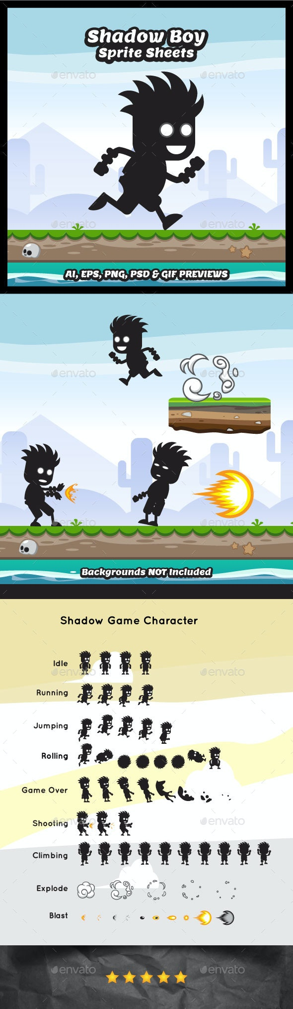 Shadow Boy Game Character Sprite Sheets - Sprites Game Assets