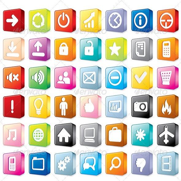 3D Interface Icons - Decorative Symbols Decorative