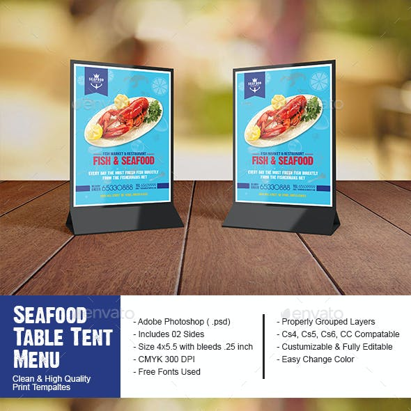 Seafood Restaurant Table Tent