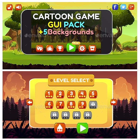 Cartoon Game GUI Pack1 and 5 Backgrounds