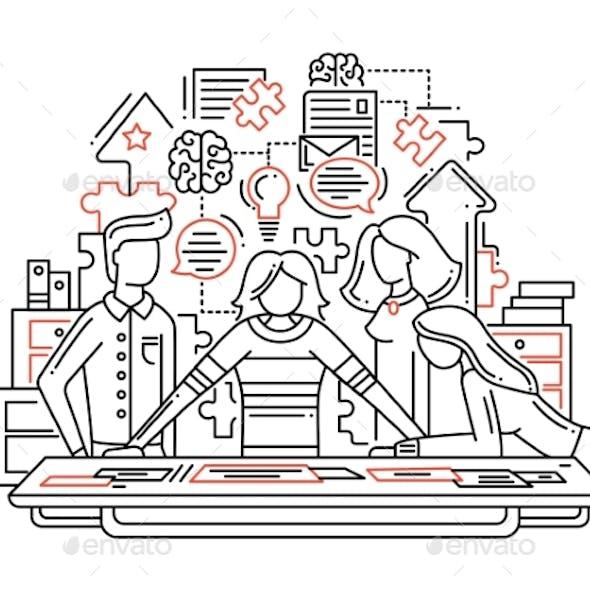 Creative Process - Line Design Illustrationn