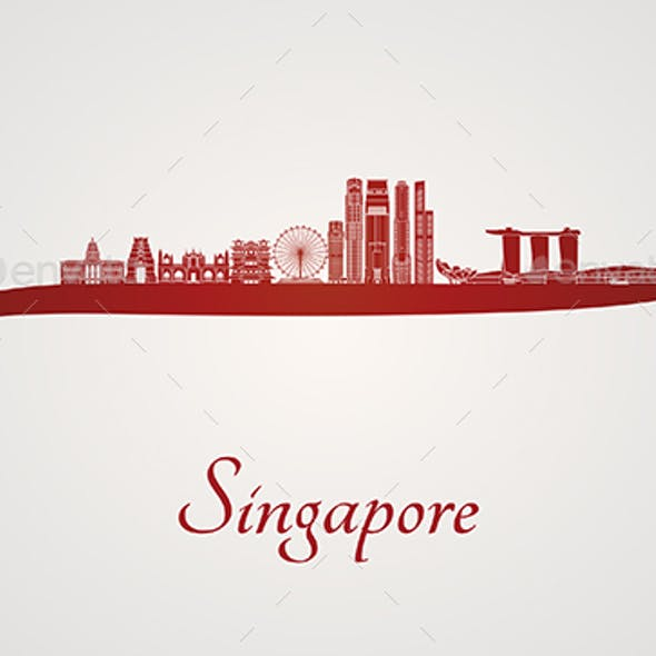 Singapore V2 Skyline in Red