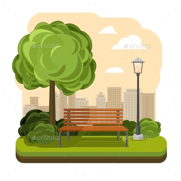 Park with Bench Streetlight and Tree Vector