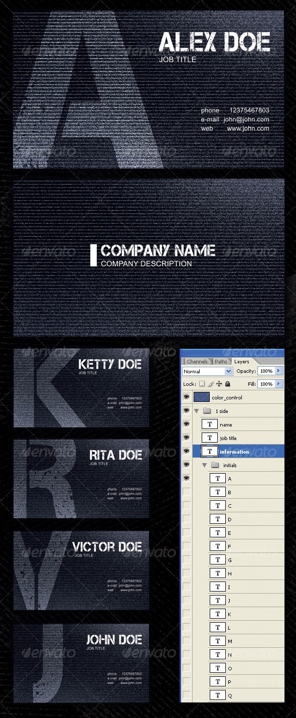"""Initials"" Corporate  Business Cards - Grunge Business Cards"