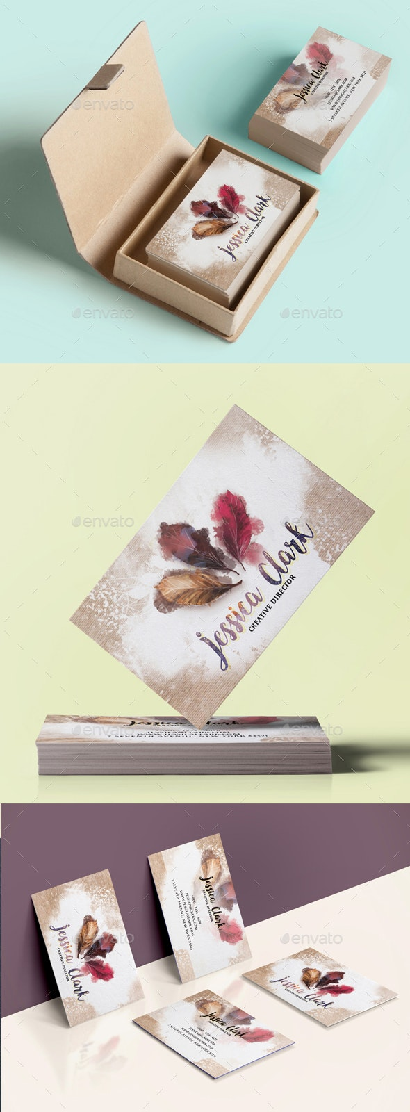 Warm Watercolor Business Card - Creative Business Cards