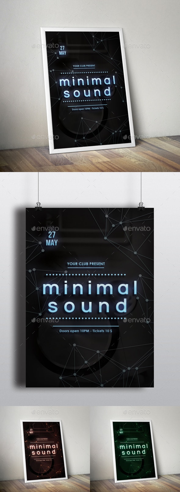 Nightclub Minimal Flyer Poster - Clubs & Parties Events