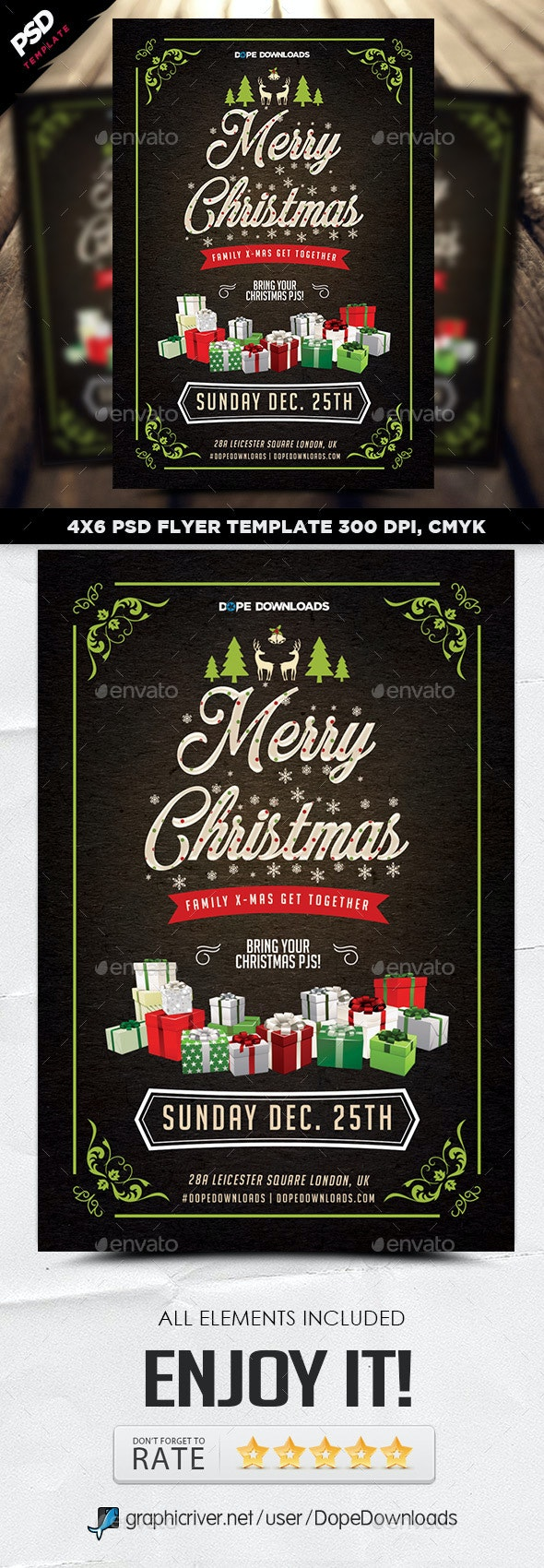 Family Christmas Party Flyer Template - Holidays Events