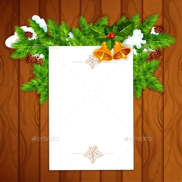Christmas Card With Blank Paper And Holly Berry - Christmas Seasons/Holidays