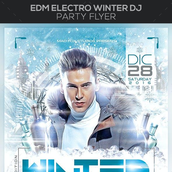 EDM Electro Winter Dj Party Flyer