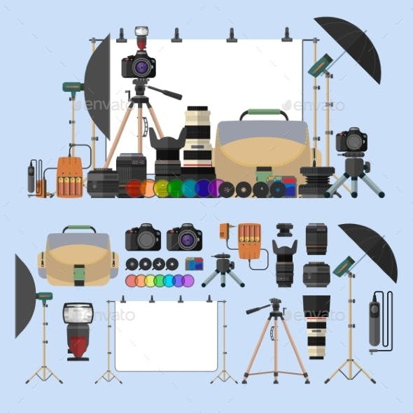 Vector Set Of Photography Isolated Objects.