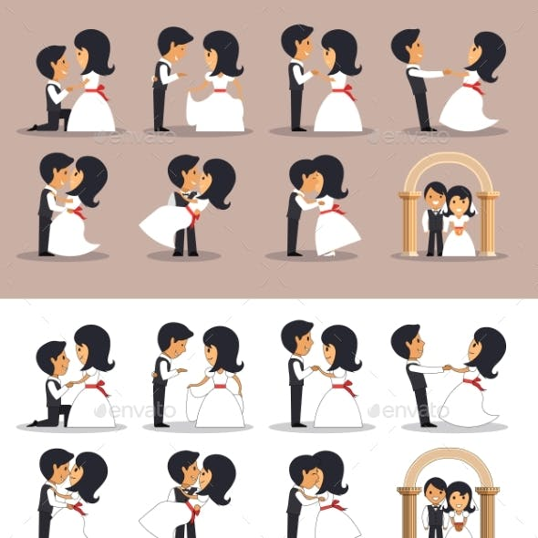 Just Married Couples In Different Poses. Vector