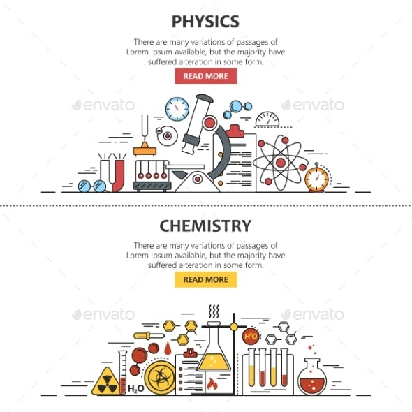 Science Banner Vector Concepts In Line Style