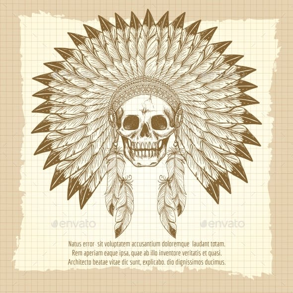 Vintage Skull In Feathers Headdress Poster