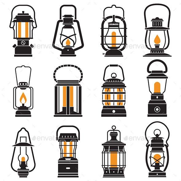 Vintage Camping Lantern Icons