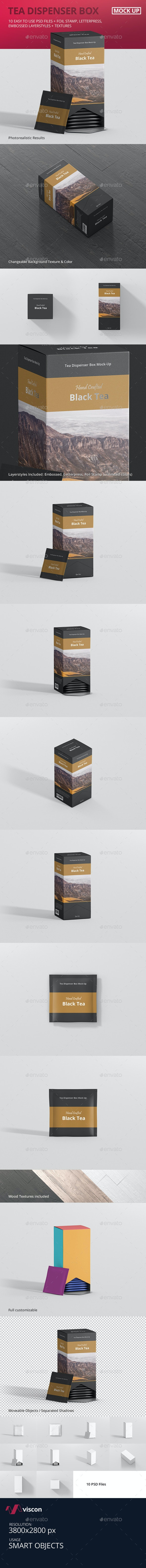 Tea Dispenser Box Mockup - Food and Drink Packaging
