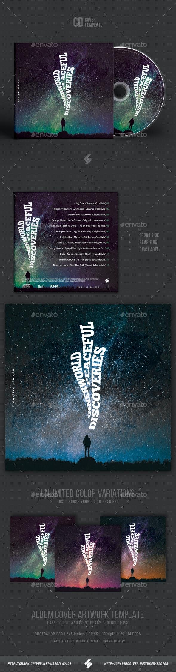 Inner World Discoveries - Creative CD Cover Artwork Template - CD & DVD Artwork Print Templates