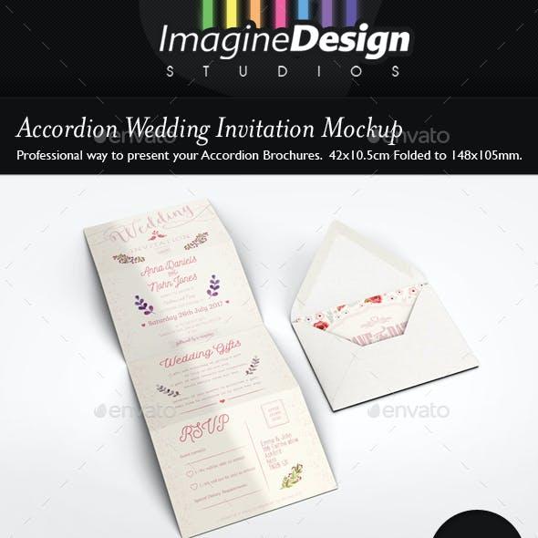Accordion Wedding Invitation Mockup