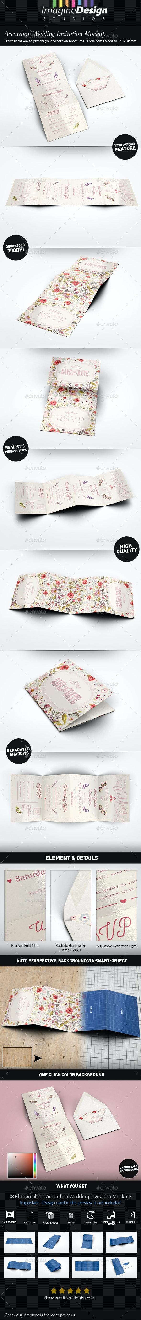 Accordion Wedding Invitation Mockup - Miscellaneous Print