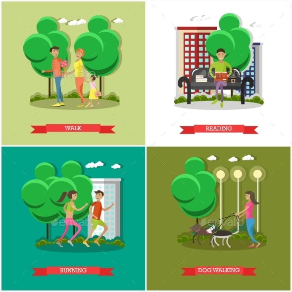 Vector Set Of Cartoon Character Posters.