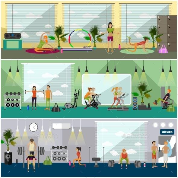 Fitness Center Interior Vector Illustration